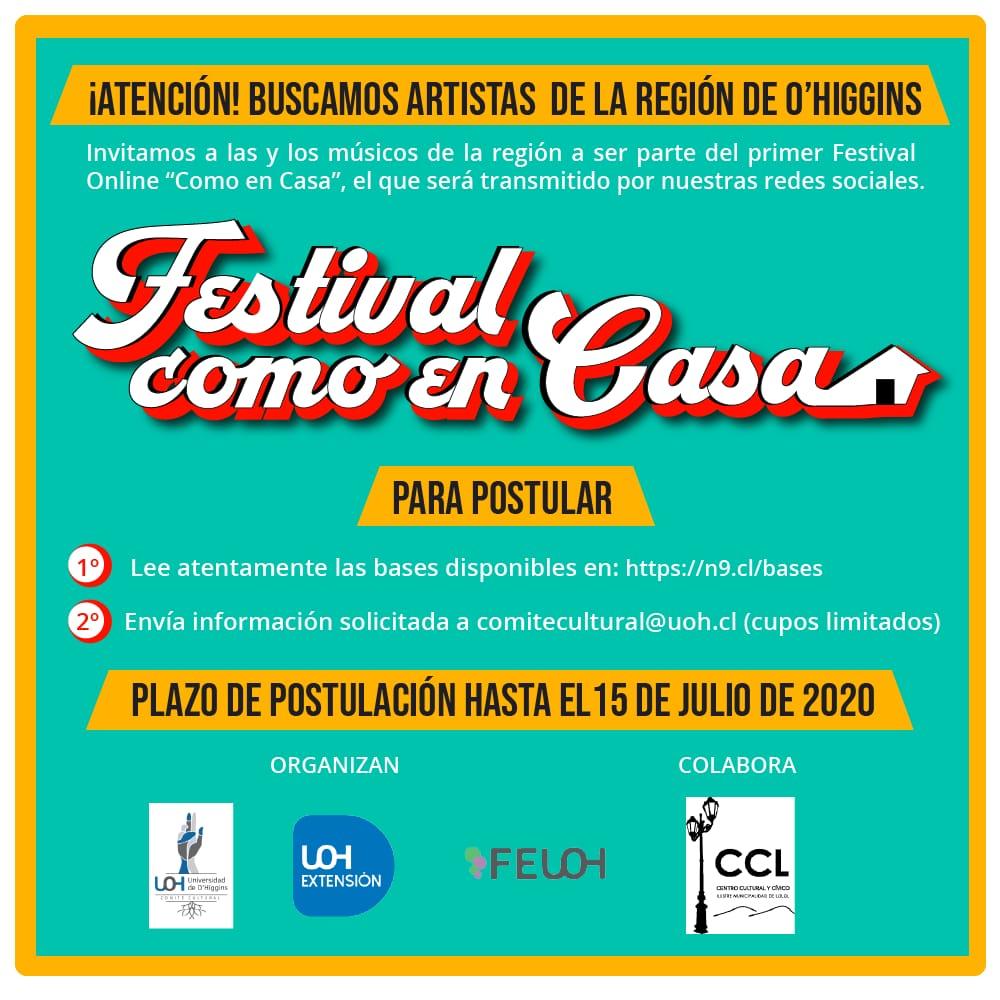 Universidad de O'Higgins organiza festival online para apoyar a músicos y músicas regionales